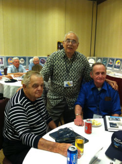 "In the Ready Room from left to right is Bill Kushman, Vince Geraldi and Ken ""Stoney"" Field"